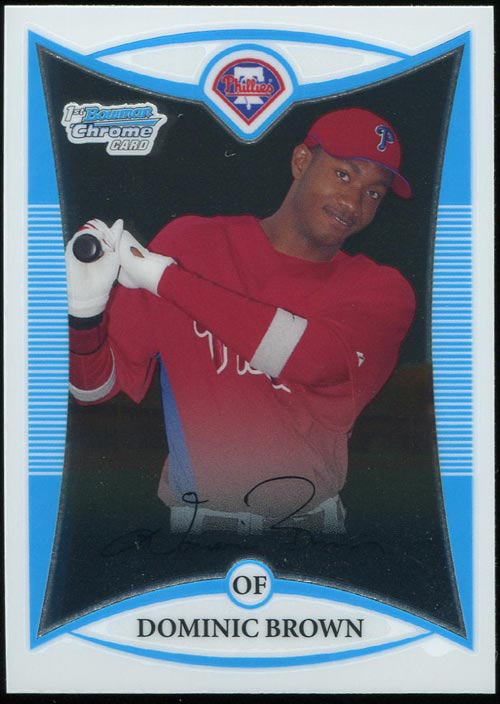After just one game. Well, two if you count tonight's pinch hit appearance. Dom Brown's 2008 Bowman Chrome Prospect has surged in the last 24 hours, with single cards closing […]