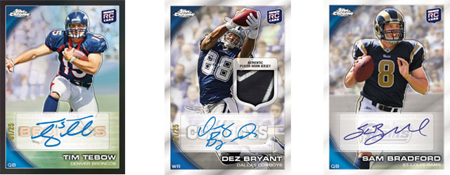 Here is your chance to win a FREE 2010 Topps Chrome Rookie Autograph from one of the 40 rookie autographs inserted into the 2010 Topps Chrome Football product. I have […]