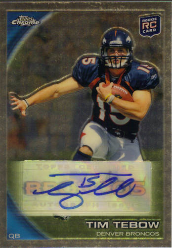 The holy grail of Tim Tebow cards has made it's way onto eBay. His [ebay:140466010695,2010 Topps Chrome Superfractor Auto] is currently up at a 10-day auction, ending on 10/24. While […]
