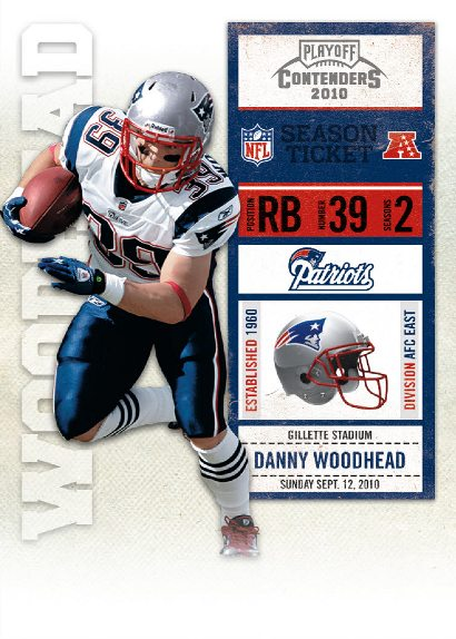 Patriots RB Danny Woodhead's first NFL trading card