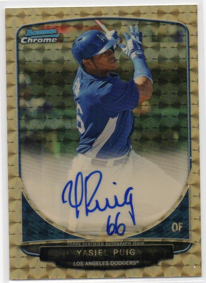 2013 Bowman Chrome Yasiel Puig Superfractor Auto pulled and sold!